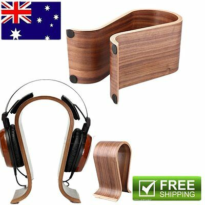 Wood Wooden Headphone Stand Holder Earphone Hanger Headset Display Rack Brown GA