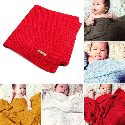 New 7 Colors Kids Boys Girls Organic Cotton Knitted Cover Baby Sleeping Blanket