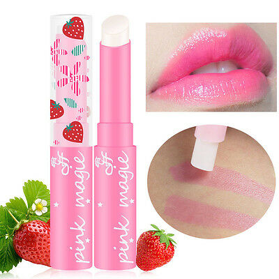 Cute Strawberry Lip Balm Magic Temperature Changing Color Moisturizer Balm 1pc