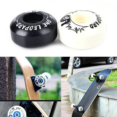 4X New Professional Soft PU White Black Skateboard Wheels  52*30mm FT