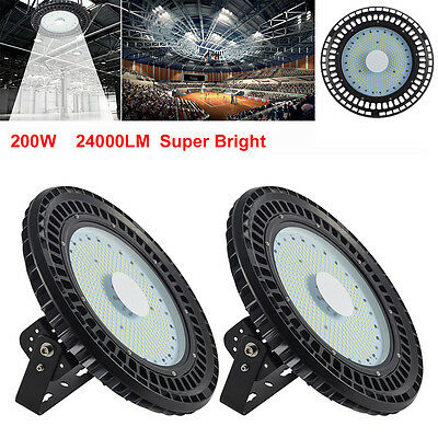 2X 200W UFO LED High Bay Light Industrial Factory Warehouse Roof Shed Lamp 240V