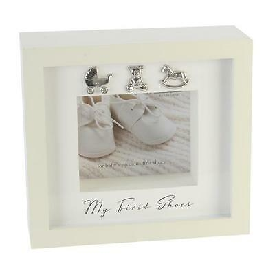 My First Shoes Keepsake Frame - By Bambino Ideal Christening Gift Brand New