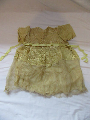 Collectable Vintage Christening Gown or Dolls Dress Yellow/Gold Lace/Net 1920s?