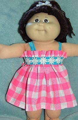 "CABBAGE PATCH Dolls Clothes 16""  /  Dress~Bloomers~Headband / Hot Pink Checks"