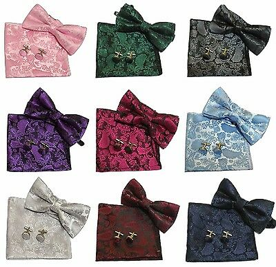 Paisley Men Boy Pre-Tied Wedding Event Prom Bow Tie+Cuff Links+Handkerchief Set