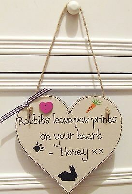Handmade Personalised Rabbit Memorial Plaque Sign Leave Paw Prints On Heart Gift