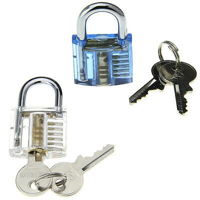 2PCS Transparent + Blue Inside-View Pick Skill Training Practice Padlock Lock