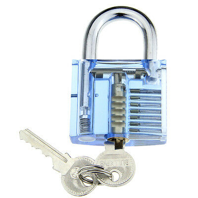 Blue Stainless steel Slotted Transparent Skill Pratice Padlock Set With 2 Keys