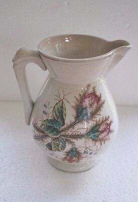 GOODWIN BROTHERS Pitcher Jug Pottery Ohio Bros. Warranted floral thistle