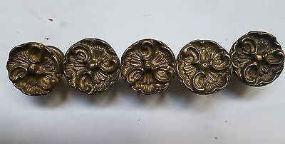 Antique Vintage Brass Metal French Ornate Knobs Drawer Pulls Handles lot of 5