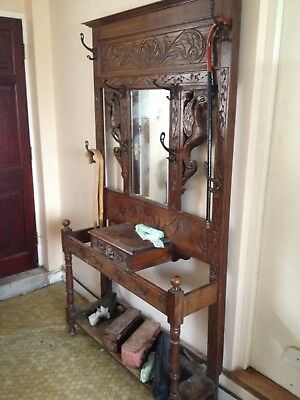 Attractive Large Antique Victorian Carved Oak Mirror Back Hall Coat Stick Stand