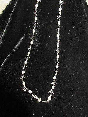 Vtg Antique Art Deco  Freshwater Cultured Pearl Choker Necklace 925 Sterling
