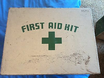 Vintage Wall Mounted Metal FIRST AID KIT Box W/Supplies - Green over Gray