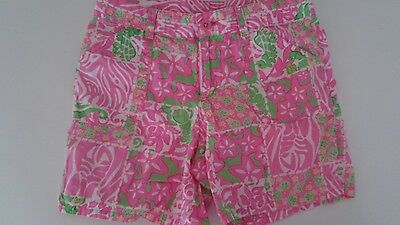 Girls Lilly Pulitzer Shorts size 12 pink green print flat front