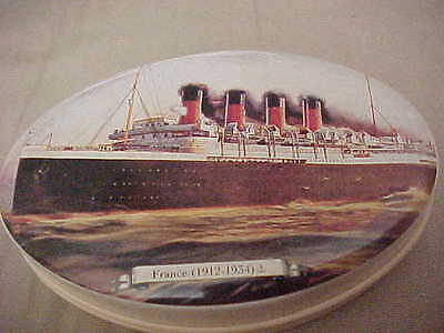 "FRENCH LINE - SS FRANCE 1912-1934 Caramel Souvenir Tin 2.25"" x 3.5""  French Made"