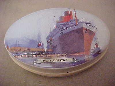 "FRENCH LINE - SS PARIS 1921-1939  Caramel Souvenir Tin 2.25"" x 3.5""  French Made"