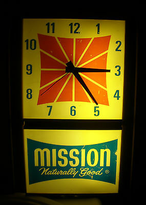 Vintage Advertising Mission Beverages Orange Soda Naturally Good Clock Working