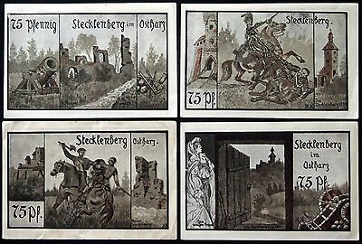 STECKLENBERG 1921 larger format 4x75 Pf complete set German Notgeld