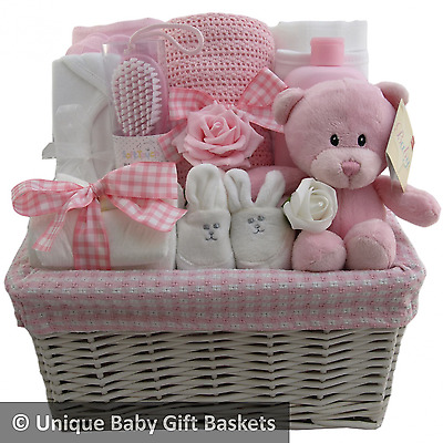 Hospital/new born essentials baby gift basket/hamper girl nappy cake baby shower