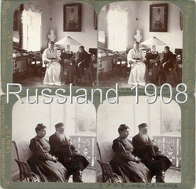 23 Stereofotos Nikolayevich Tolstoy - Famile in Russland Russia um 1900 Serie 1
