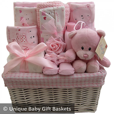 Hospital/new born essentials with layette set girl baby gift basket/hamper