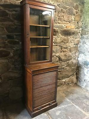 Vintage Edwardian Tambour Front Solicitors  Bookcase Display Cabinet