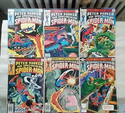 Peter Parker The Spectacular Spider-Man comic book lot(Marvel,1970s)