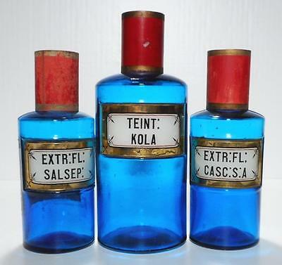 19c. Three Unusual Blue LUG French Apothecary Pharmacy Bottles