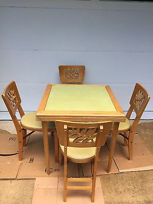 Stakmore Card Table + 4 Folding Chairs Mid Century - Deco Transition