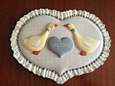 Geese, Welcome Wall Plaque, Country Blues, Handpainted, VG