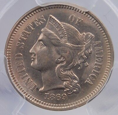 1869 Three Cent Nickel Pcgs Ms 63 Attractive Well Struck Light Pewter Example