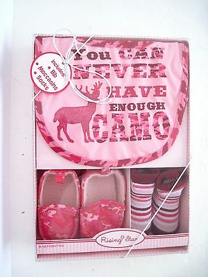 "Rising Star ""you Can Never Have Enough Camo"" Girls 6 - 12 Months Gift Set Nib"