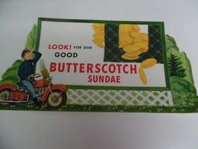 1950s Drive-In Restaurant Ice Cream Butterscotch Sundae Diner Paper Sign Vintage