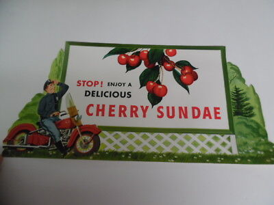 1950s Drive-In Restaurant Cherry Ice Cream Sundae Paper Advertising Sign Vintage