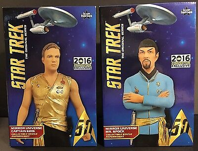 Lot of 2: Exclusive Star Trek Mirror Universe Kirk & Spock Statues   [BRAND NEW]