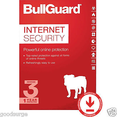 BullGuard Internet Security 2018 Latest 3 PCs 1 Year License Key New or Extend