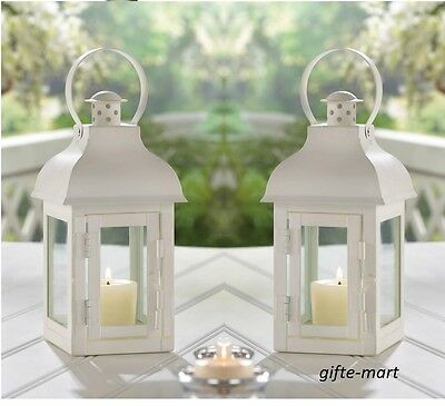 """5 lot White Moroccan 12/"""" shabby Candle holder lantern wedding table centerpiece"""
