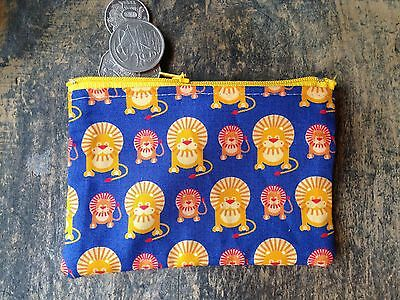 Boys Or Girls Lion Money, Coin Pouch 12x 8 cm Yellow Blue Red Christmas Birthday