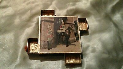Vintage  match box holds 4 boxes of matches from England