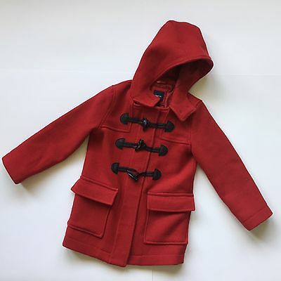 Gap Kids Red Wool Toggle Pea Coat Girls Sz S 6-7 Winter/Fall Jacket Hooded Warm