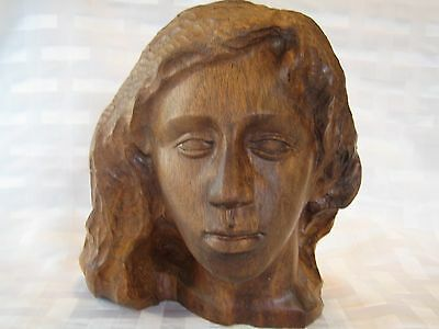 Hand Carved Wood Womens Head Bust Carved Sculpture Signed By Artist