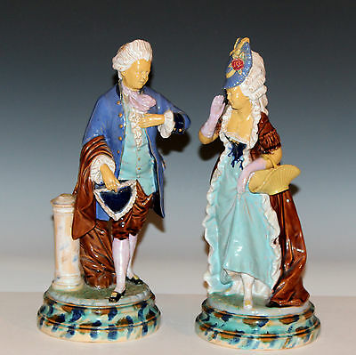 Antique Pair Couple French Faience Pottery Figures Majolica 18th Marie Antoinett