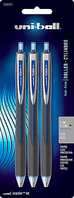 Uniball Vision Rt Rollerball Blue Fine  0.6Mm New In Blister Pack Of 3 1782103