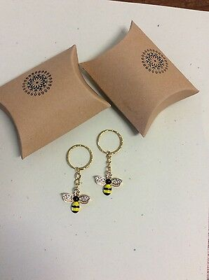 Key ring set gold plated rhinestones yellow black enamel bee pendant pillow boxs