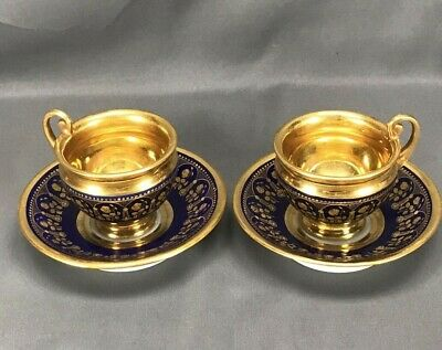 WILD! Pair of Sevres Style Old Paris M. Eudes Footed Cobalt & Heavy Gold Teacups