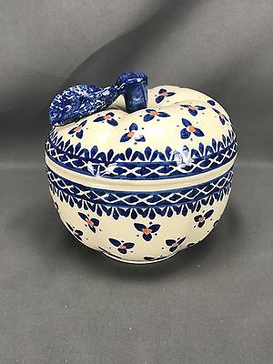 Wiza Polish Pottery Figural Apple Shaped Biscuit Jar