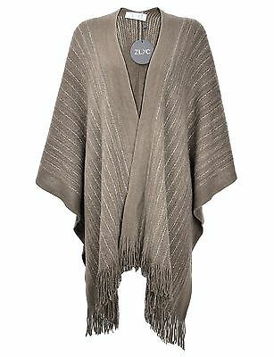ZLYC Women Lightweight Soft Basic Chunky Knit Open Front Blanket Wrap Fringe ...