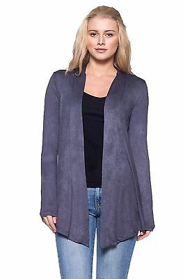 Women Junior Open Cardigan-Long Sleeve w OSSAMI Set D.grey Medium