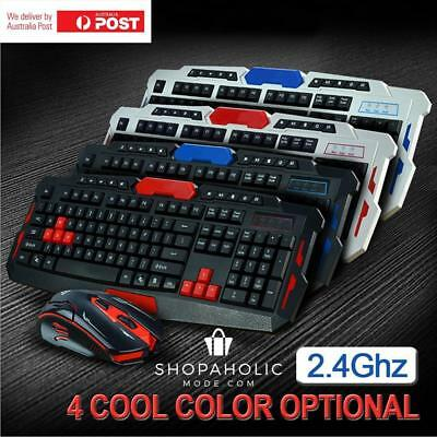 New 2.4G Wireless Gaming keyboard and Mouse Set Bundle Computer Multimedia PC