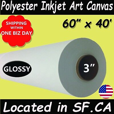 """60""""x40', 1Roll,3 Core,Glossy Polyester Inkjet Art Canvas for Eco-solvent Printer"""